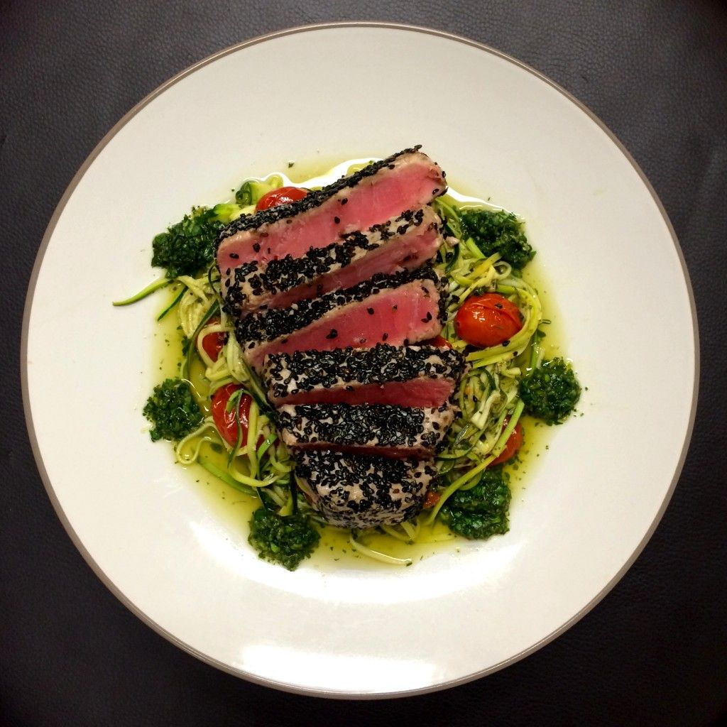 Seared Tuna and Zucchini Noodles with Coriander & Lime Salsa Verde - Shine Dining
