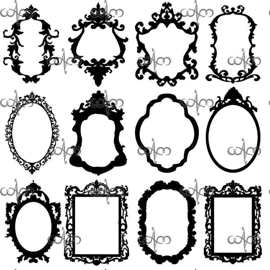 Frame Design Line Art : Baroque frames clip art graphic design pattern for your