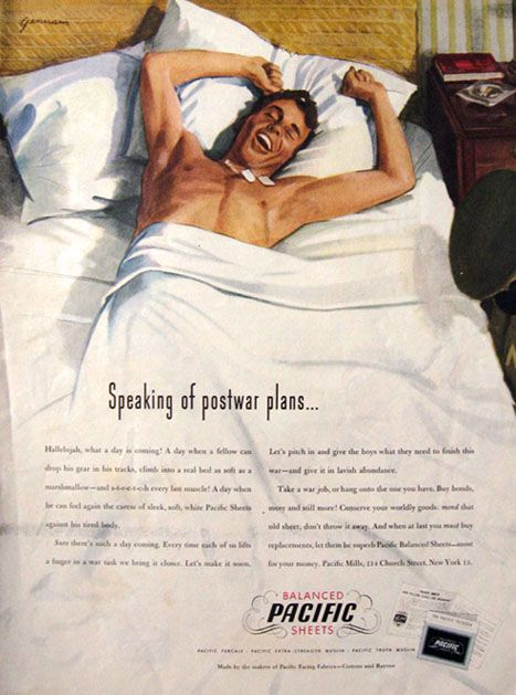 1945 Pacific Sheets Ad ~ John Gannam ~ Soldier in Bed