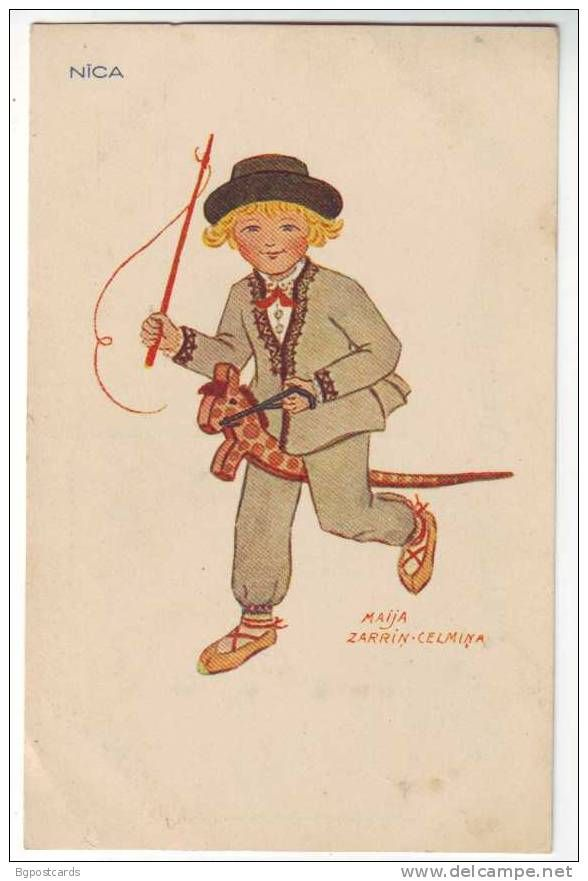Latvian postcard - illustrator Maija Zarriņ-Celmiņa. Boy in Nīca folk costume riding a wooden horse.