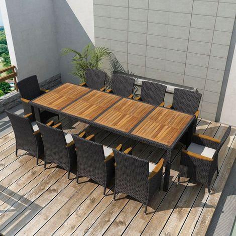 vidaXL Jeu de mobilier jardin 21 pcs Noir Résine tressée   Backyard