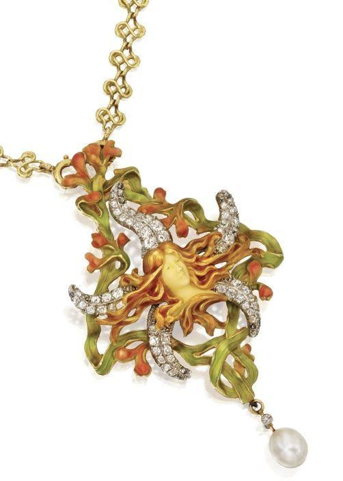 ART NOUVEAU GOLD, DIAMOND, ENAMEL AND PEARL PENDANT-NECKLACE, ATTRIBUTED TO LOUIS AUCOC, FRANCE, CIRCA 1900