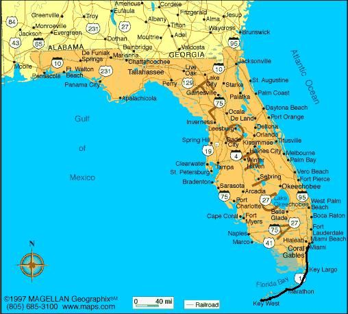 florida map miami to key west