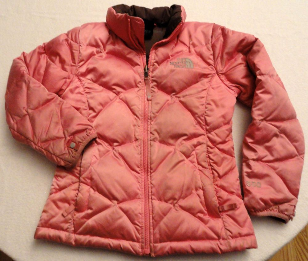 874b5bcf5 The North Face 550 fill down pink puffer jacket, Girls Size 10-12 ...