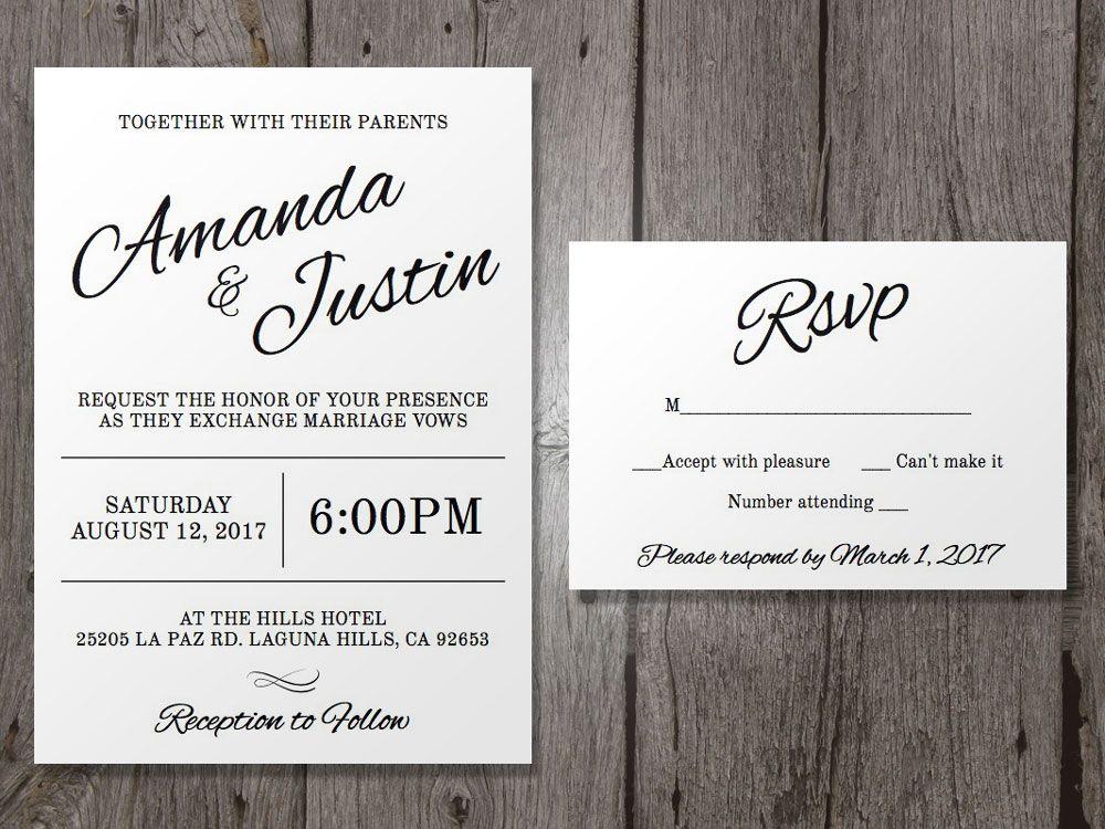 Printable Wedding Invitation And Rsvp Template Clean Cursive