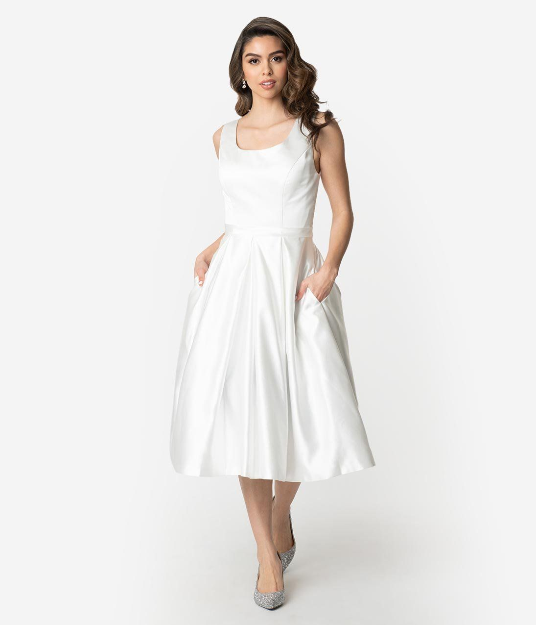 Unique Vintage 1950s Style Ivory Satin Sleeveless Maxime Wedding Dress Dresses White Dresses For Women Unique Dresses [ 1275 x 1095 Pixel ]
