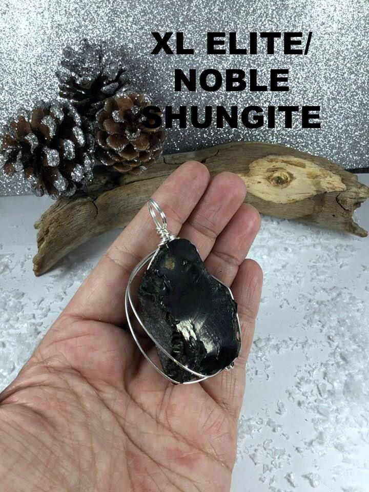 Large Elite/Nobel Russian Raw Shungite Crystal Pendant