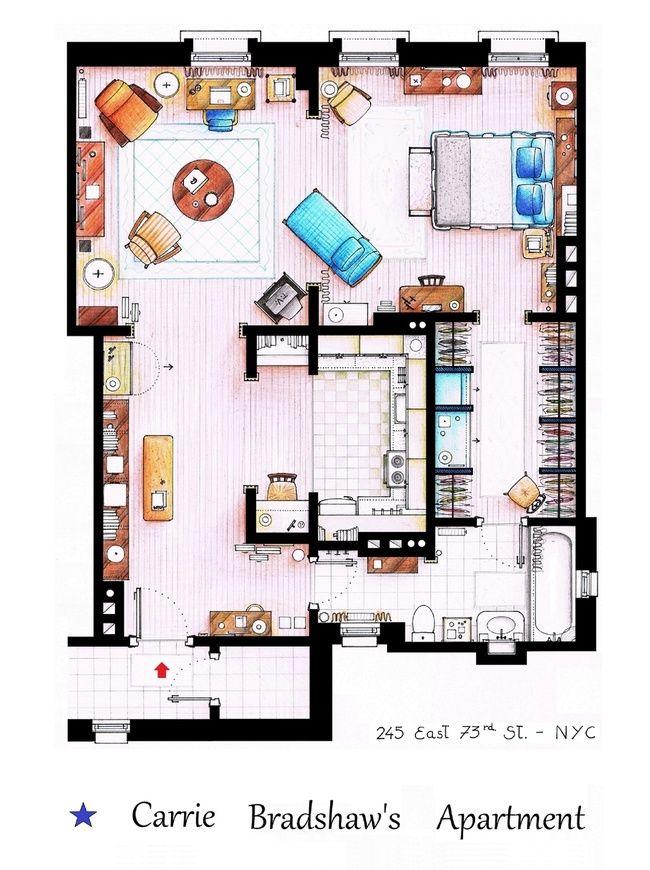 Carrie Bradshaw\u0027s appartement Carrie Bradshaw SATC Pinterest - Dessiner Un Plan De Maison