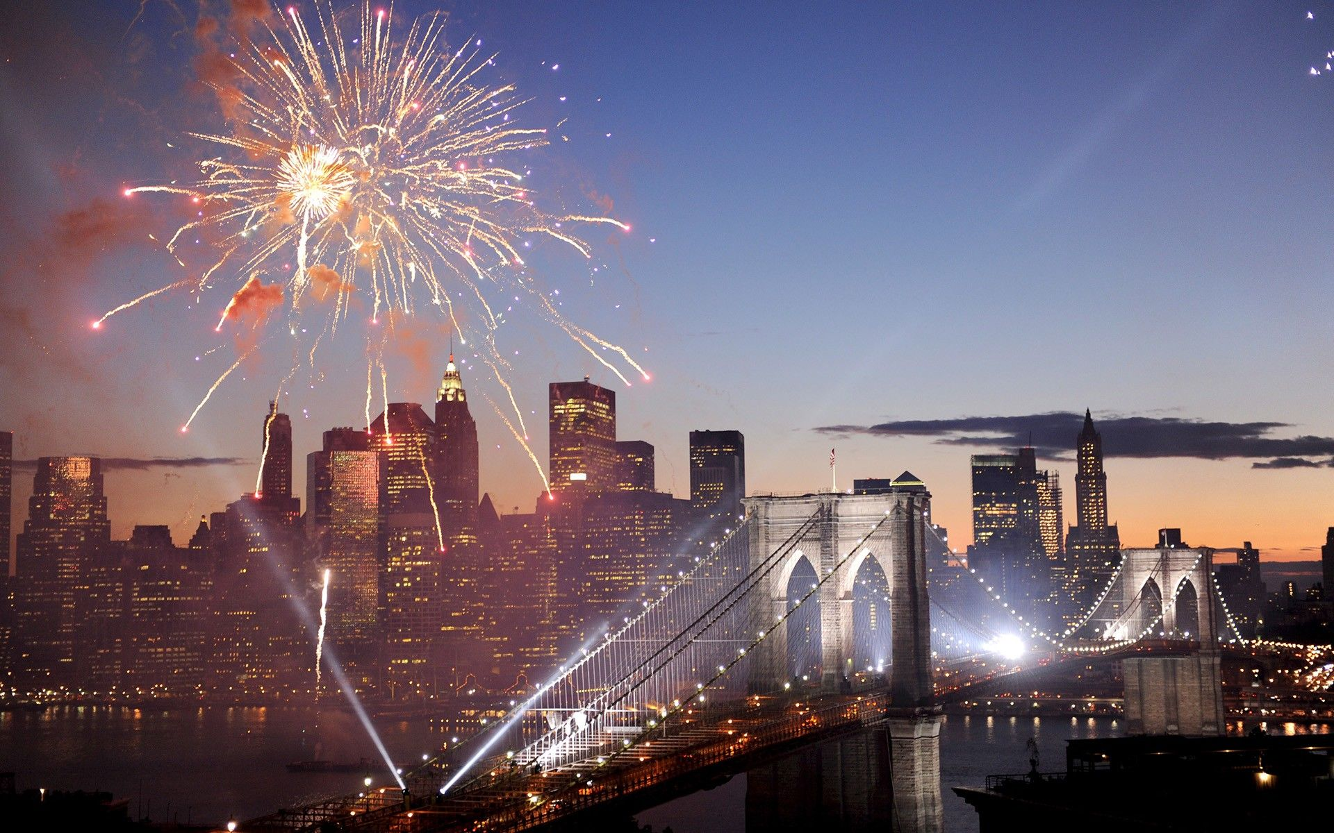 city brooklyn bridge new york cities fireworks wallpapers widescreen backgrounds