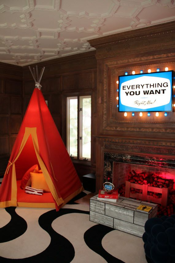 Awesome Kids Playroom Ideas With Fireplace Red Tent & Awesome Kids Playroom Ideas With Fireplace Red Tent | Room Ideas ...