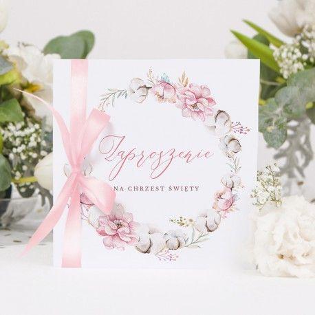 Zaproszenia Na Chrzest Subtelny Roz Place Card Holders Baby Invitations Place Cards
