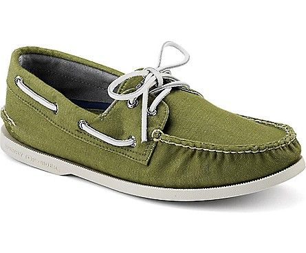 Loving these hand sewn soft canvas Sperry boat shoes in Olive.