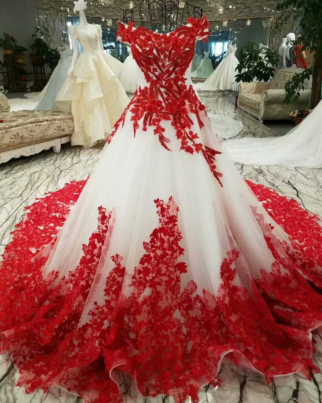 Red And White Ballgown Wedding Dress Ball Gowns Wedding Red Wedding Dresses Ball Gown Wedding Dress