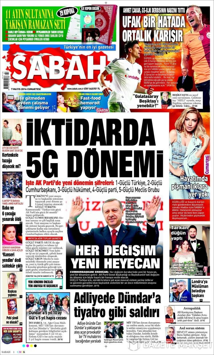 #20160507 #TürkiyeHABER #TURKEY #TurkeyTodayNEWSpapers20160507 Saturday MAY 07 2016 http://en.kiosko.net/tr/2016-05-07/ + http://www.trthaber.com/foto-galeri/gazete-mansetleri-7-mayis-2016/10374/sayfa-9.html <+> #SABAH20160507 http://en.kiosko.net/tr/2016-05-07/np/sabah.html