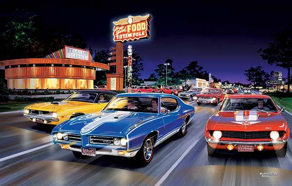 Bruce Kaiser Muscle Car Art Woodward Ave Muscle Cars Street