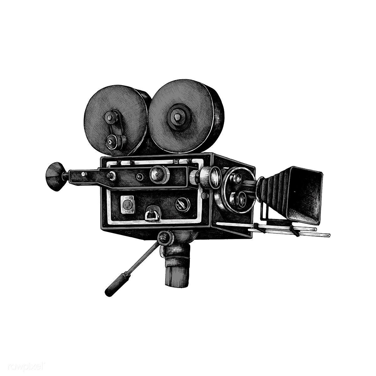 Download Premium Vector Of Hand Drawn Retro Movie Camera 410673 In 2020 Camera Illustration How To Draw Hands Movie Camera