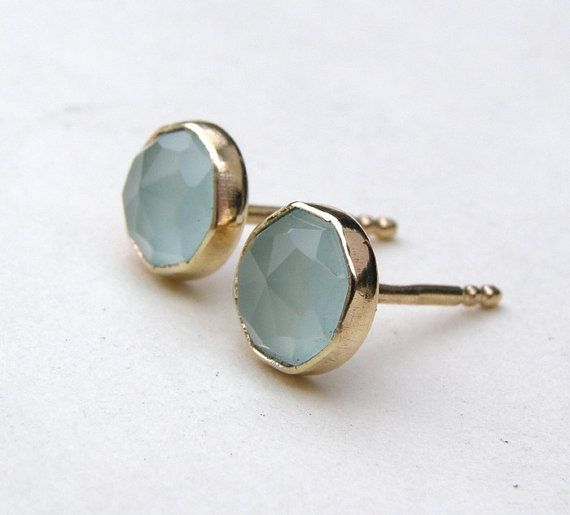 Gold Earrings Aquamarine Chalcedony Studs Recycled 14k Yellow Stud Post