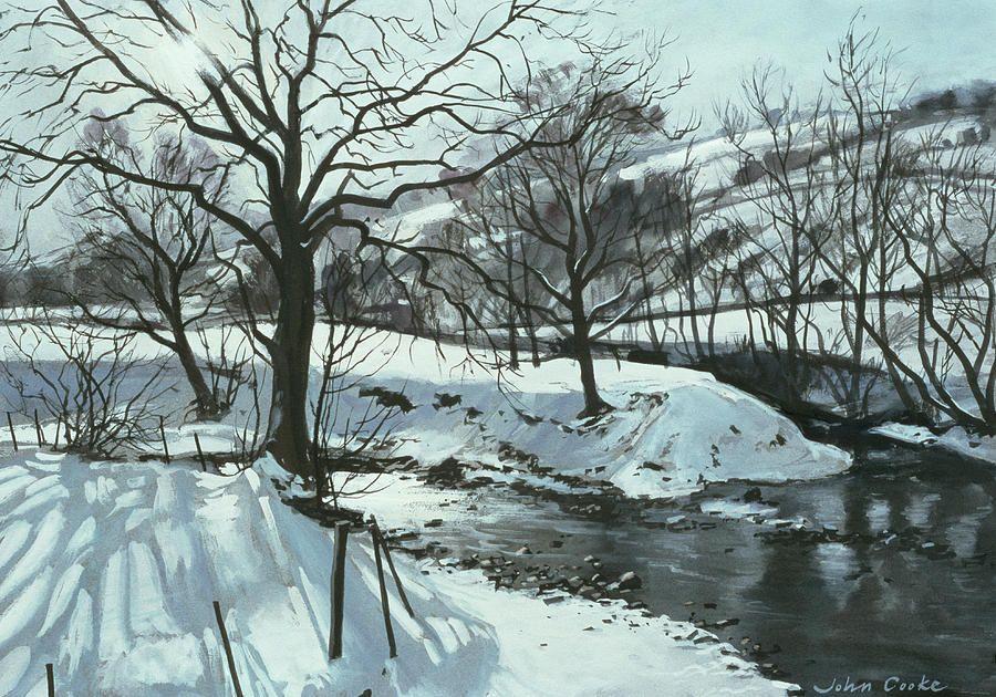 Winter River By John Cooke Winter Landscape Painting Landscape Poster Winter Landscape