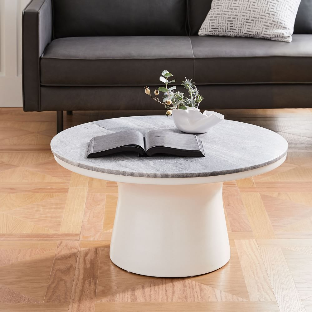 MarbleTopped Pedestal Coffee Table Gray Marble/White