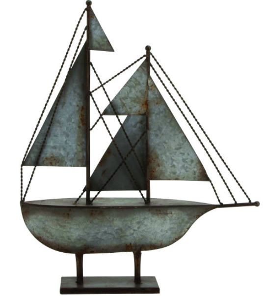 Add nautical appeal to your entryway or living room with this eye catching metal decor showcasing  sailboat silhouette and rust inspired accents also   find it today at cut above home rh pinterest