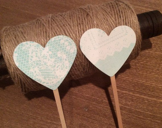 Mint Lace Heart Cupcake Toppers  - Weddings, Showers, Anniversaries