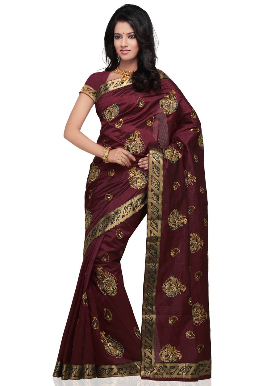 02a4f177aea38f Dark Maroon Banarasi Art Silk Saree With Blouse Online Shopping: SNE233
