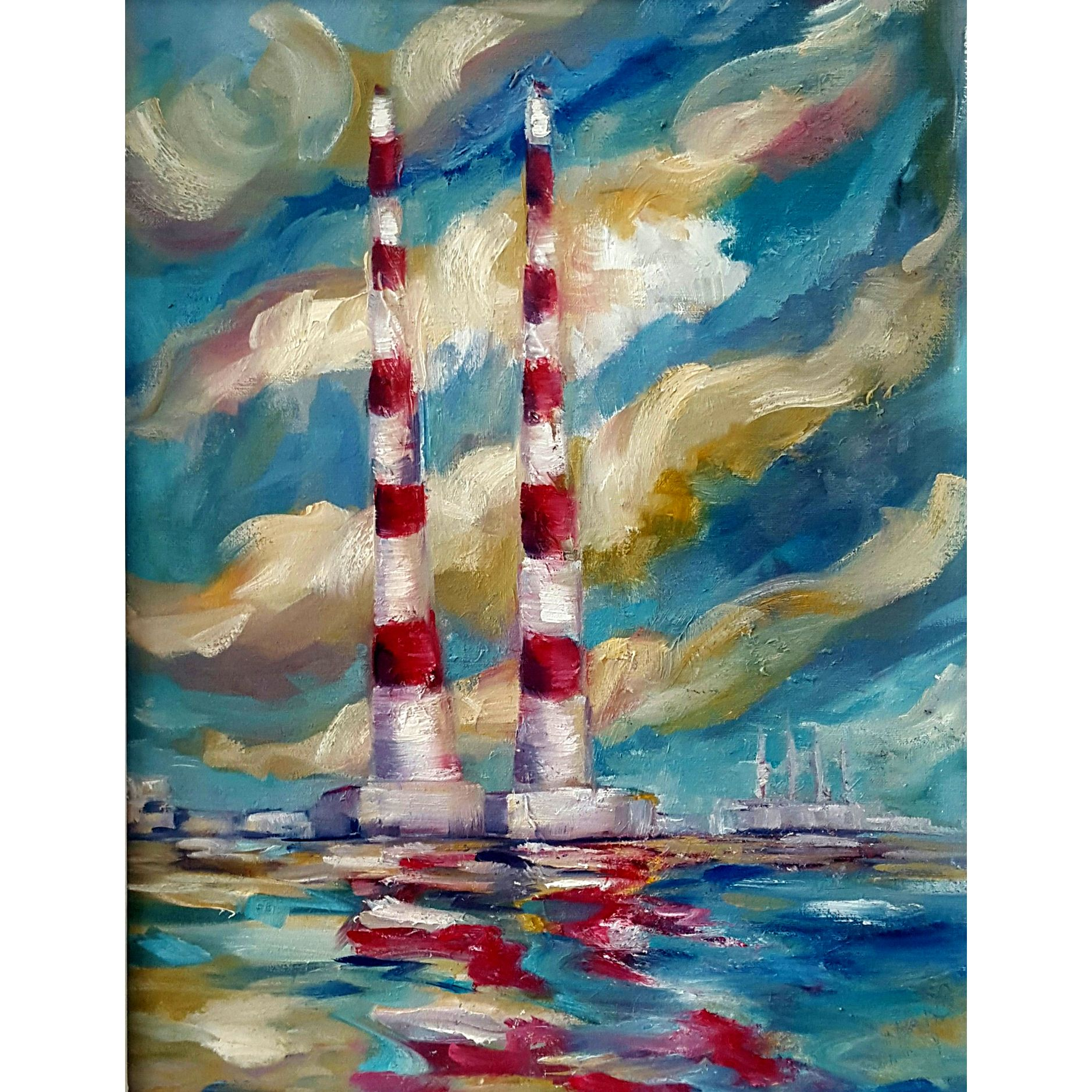 Poolbeg Chimneys Sandymount Christmas Sale By Niki Purcell Artclickireland Com Abstract Artwork Art Abstract