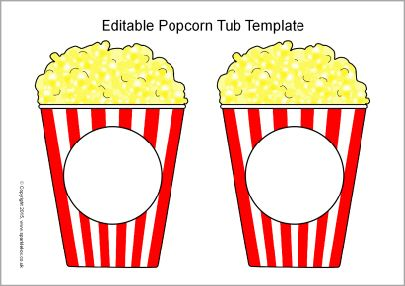 photograph relating to Printable Popcorn Template identify Editable popcorn bath templates (SB11152) - SparkleBox