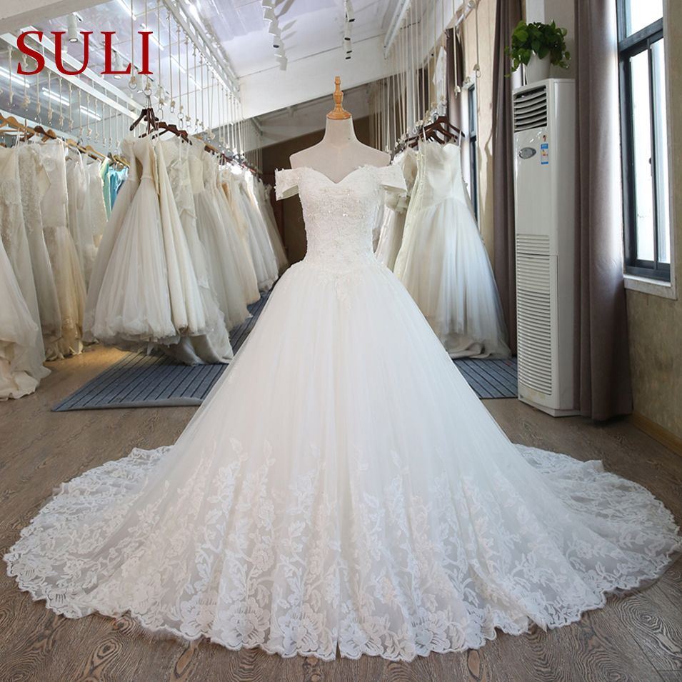 Sl real pictures ball gown bridal dress vintage muslim plus size