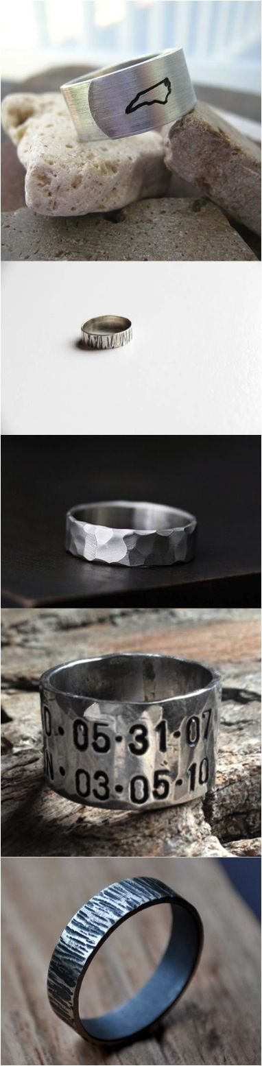 These gorgeous men's rings are as unique as your man. Customized, personalized, and truly one of a kind, just like him. | Made on Hatch.co by independent designers & jewelry makers
