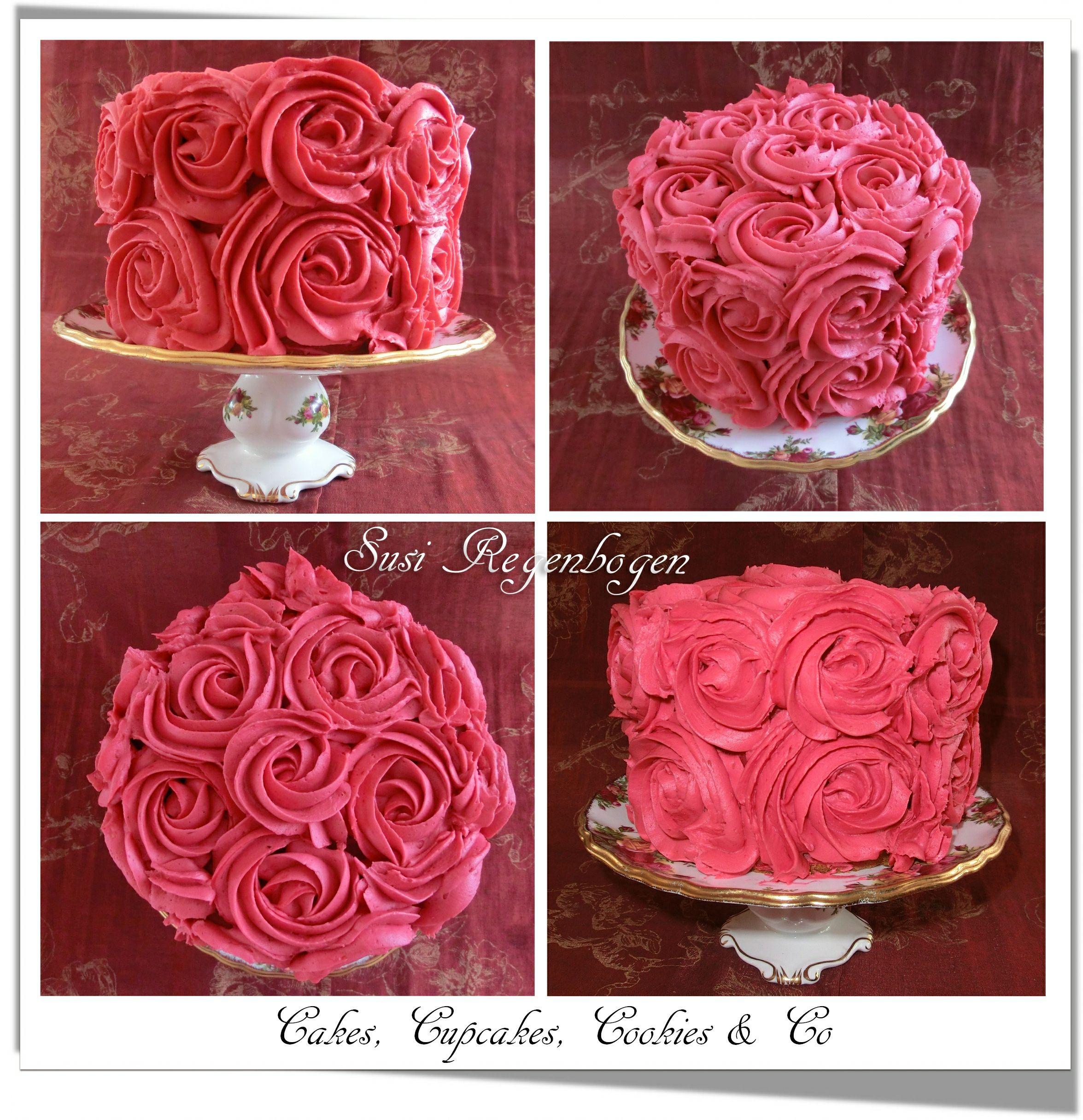 Buttercreme Rosen Torte Buttercreme Roses Cake Cake Decorating