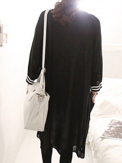 Black Stripe Long Sleeve Pocket Longline Cardigan