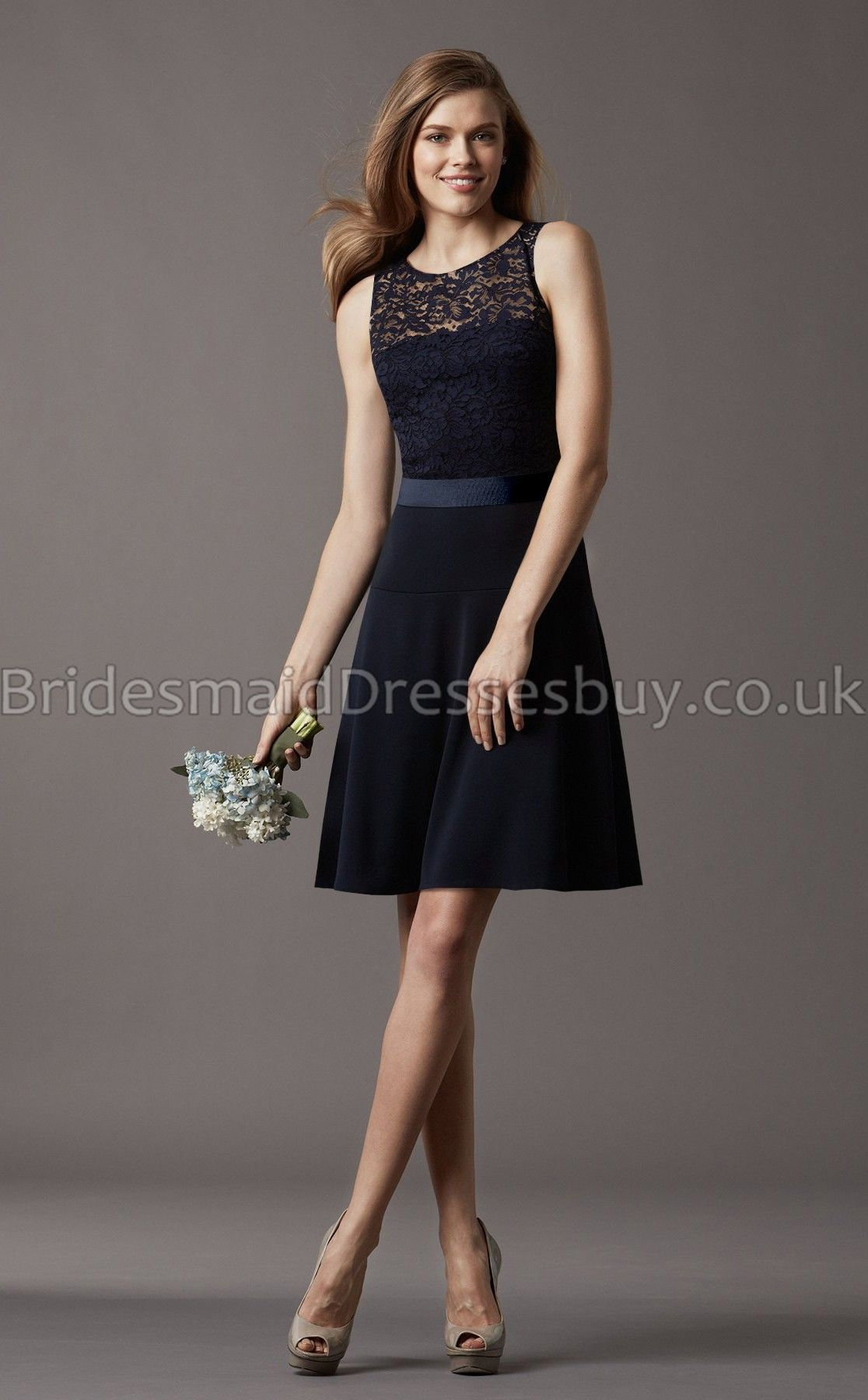 A Line Sleeveless Scoop Black Lace Short Bridesmaid Dresses