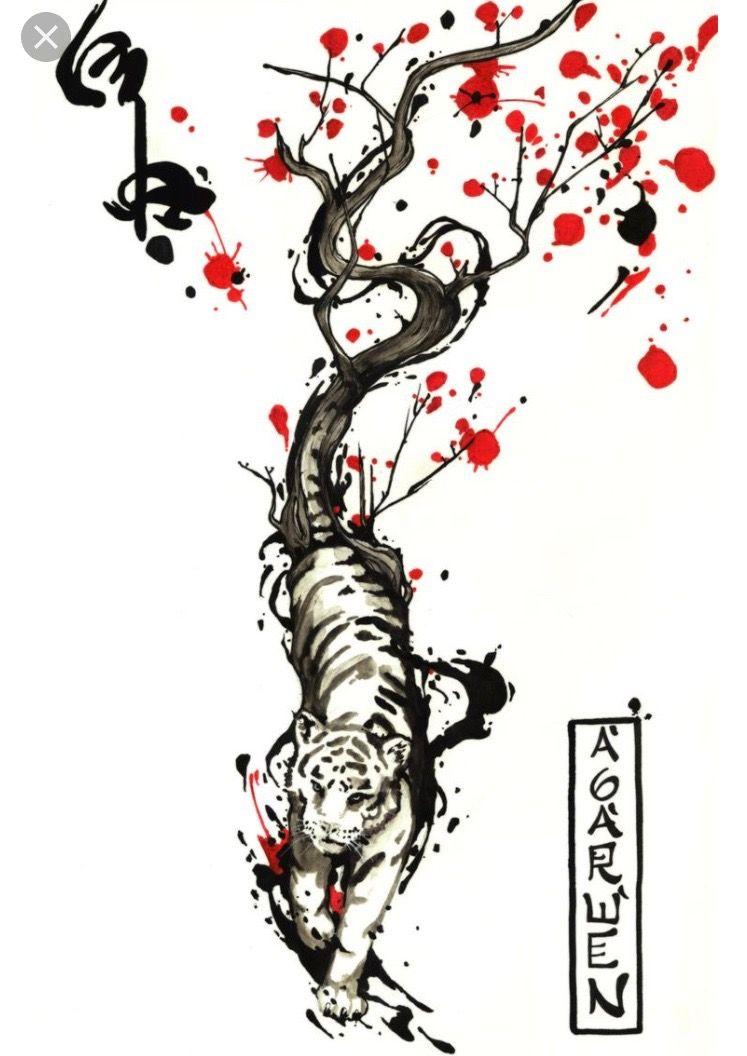 f8cc1e4f5 New age cherry blossoms and tiger | Tattoos | Tiger tattoo, Tiger ...