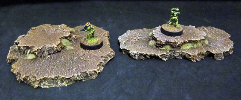 Tiny Solitary Soldiers: Scratch built cork tile hills