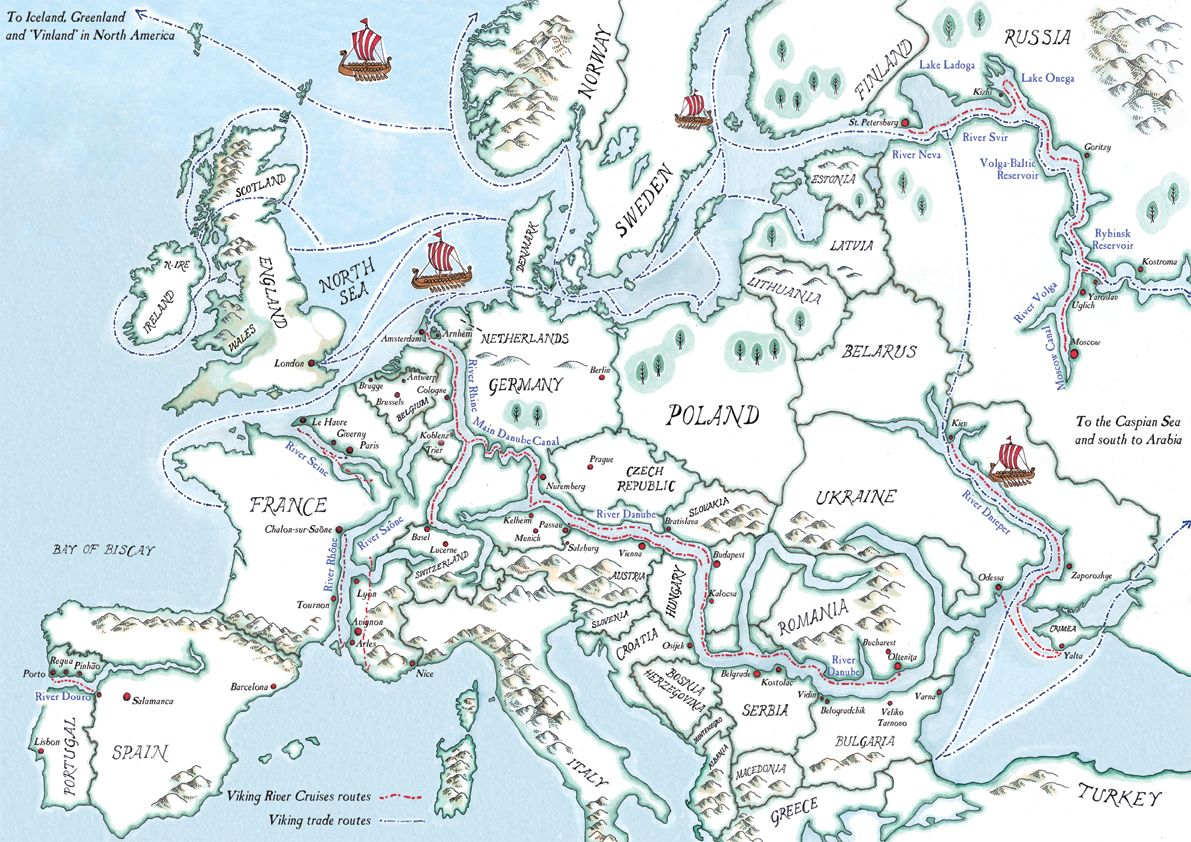 Vikings Trade Routes Maps On The Web Route Map Europe Map