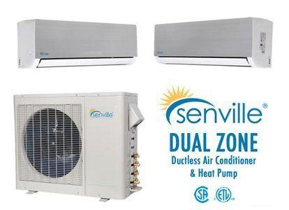 Senville 18000 Btu Dual Zone Ductless Air Conditioner And Heat Pump 9k 9k Or 9k 12k Or 12k 12k By Senv Ductless Air Conditioner Heat Pump Air Conditioner