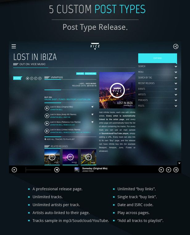 Vice: Music Band, Dj and Radio WordPress Theme | Vice music and ...