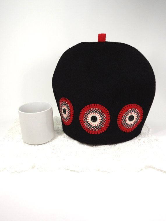 Black white red Wool tea cozy Cloth tea pot by HereAtSmallGoods Penny appliqué
