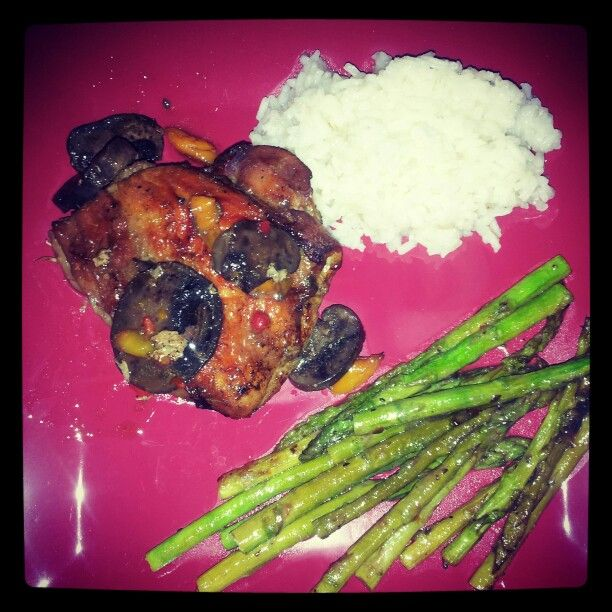 Teriyaki chicken Bake with peppers and mushrooms side asparagus and rice