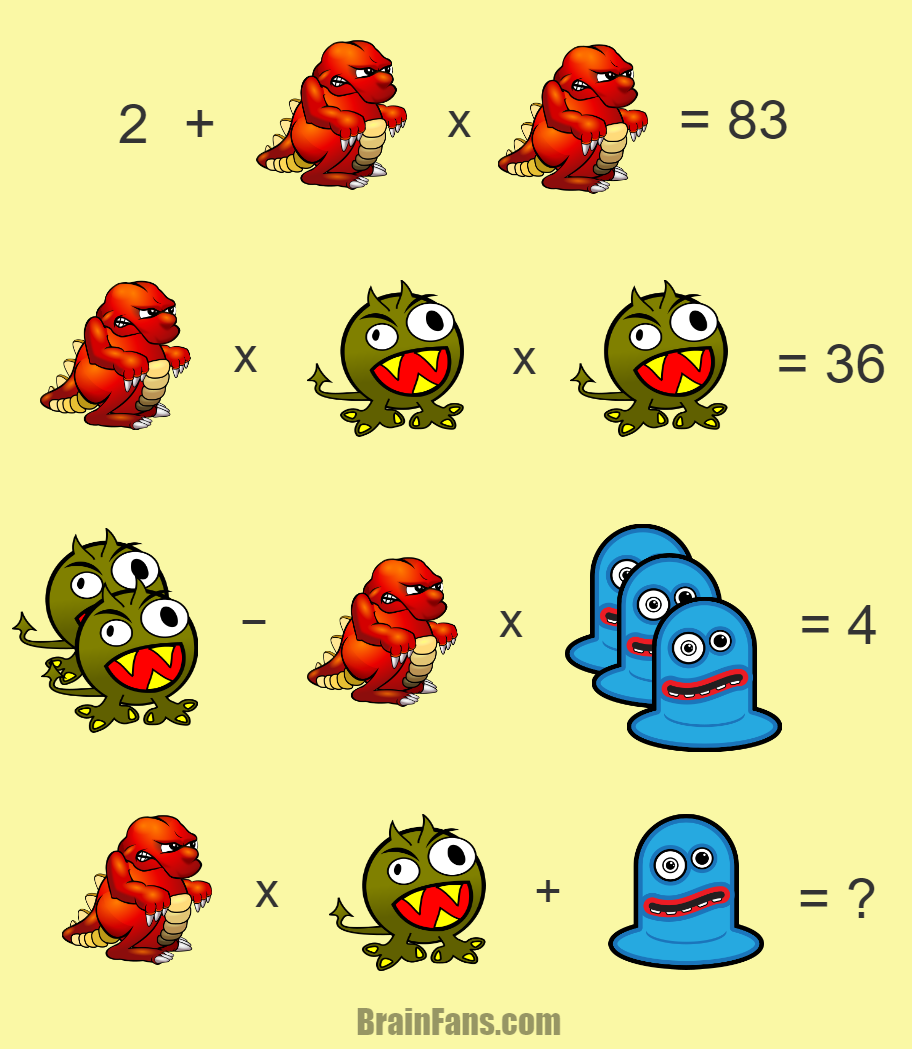 Three monsters in different colors one hard math riddle