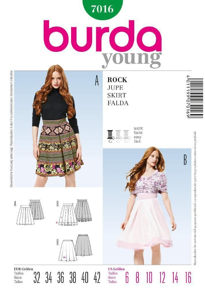 Burda young sewing pattern ladies skirt broad waistband 6 - 16 7016 ...