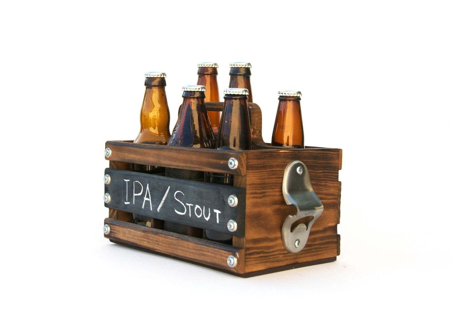 Impress Your Friends Next Time You Bring A 6 Pack To A Party Stay Classy With This Custom Built Wooden 6 Pack Holder Complete With Bottle Ope Rustic Wood Beer Caddy Beer