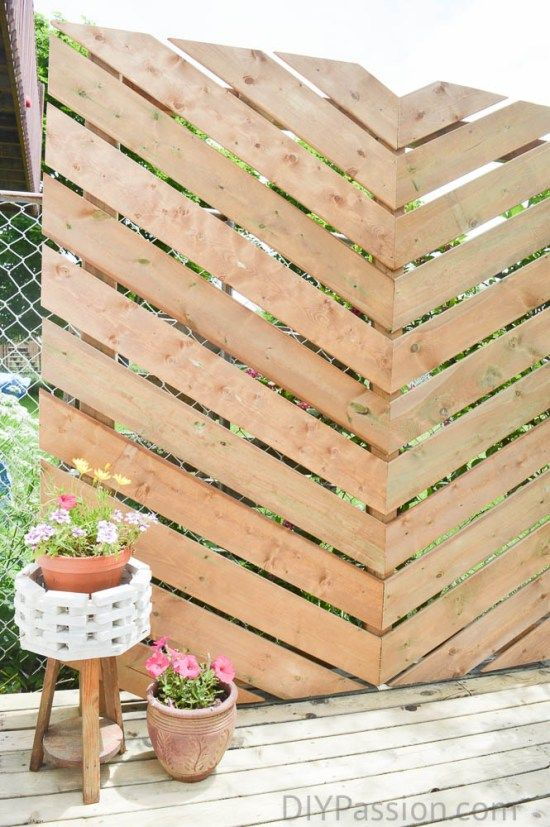 How to Build a Simple Chevron Outdoor Privacy Wall | Privacy walls ...