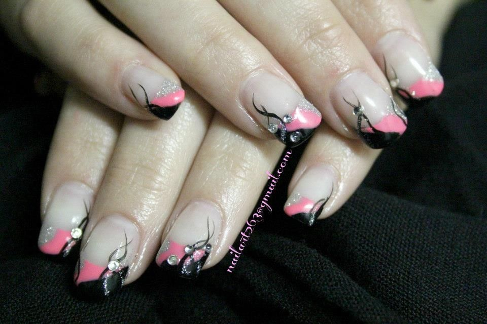 Pink, black, silver gel nails