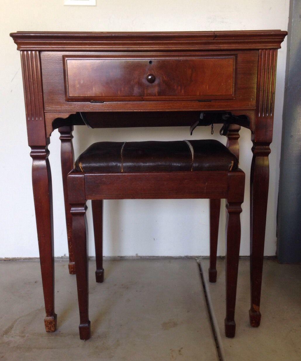Antique 1947 Singer Sewing Machine Cabinet Stool Model 201