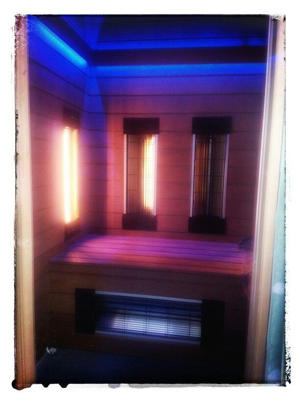 Infrared sauna with led light. All custom made from scratch. Wood is dark thermowood, heaters have both far and full spectrum lamps. Comes with bluetooth speakerd in ceiling