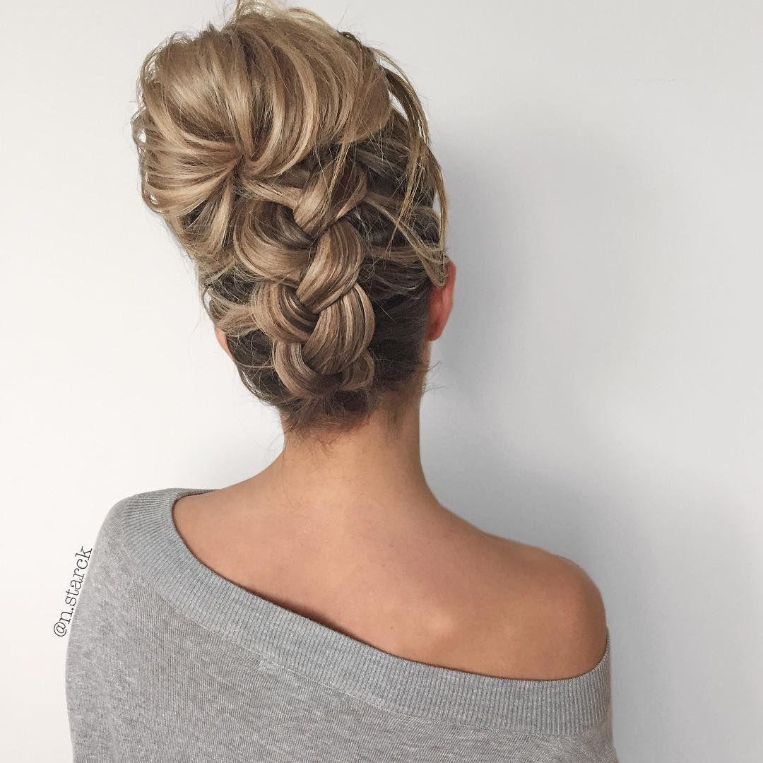 Upside Down Chunky Braid Into A Messy Bun Hair Hair Styles Hair