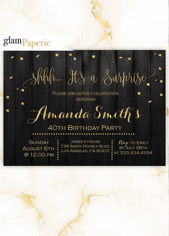 suprise gold and black party invitation for her gold andblack