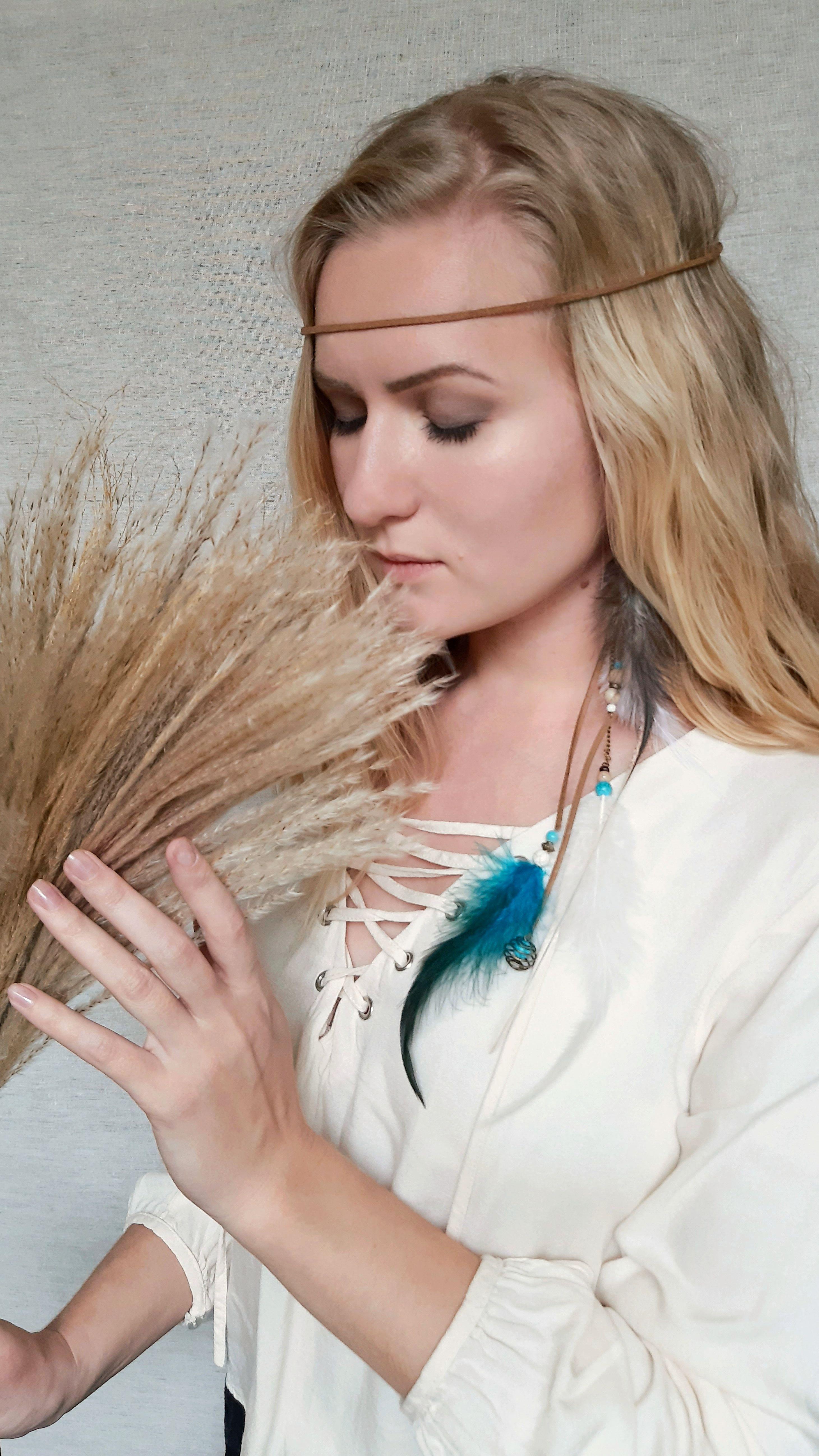Handmade metal feather indie chic festival boho earrings